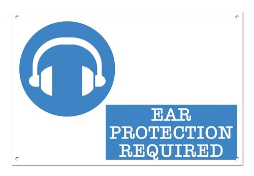 Ear Protection Required White Aluminium Metal Sign